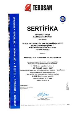OHSAS 18001 İş Sağlığı ve Güvenliği Yönetim Sistemi Belgesi
